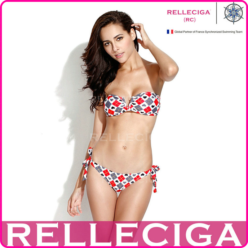 Sexy RELLECIGA 2014 New Shiny Swimsuit   Orange Diamond Pattern V Wire Strapless Bandeau Gold Bikini Set Swimwear-in Bikinis Set from Apparel & Accessories on Aliexpress.com