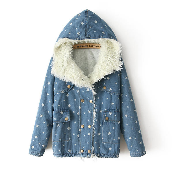 Fleece-Lined Hooded Dotted Denim Jacket, Blue , One Size - JVL | YESSTYLE