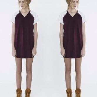 dress fifth label divergence clothing burgundy dress grunge t-shirt dress hipster