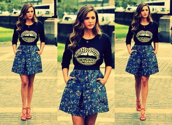 top outfit girly lookbook style nina dobrev skirt women classy 2014