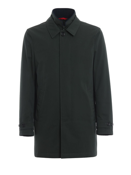 Fay Lightly Padded Double Front Trench Coat in green