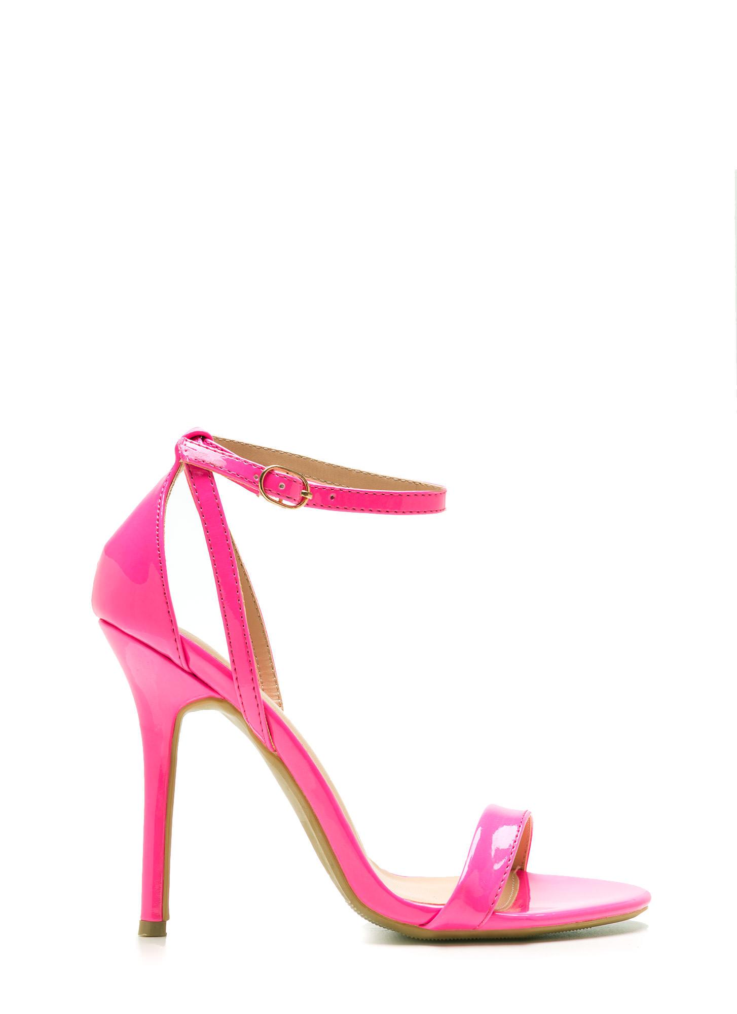 Neon Pink Strappy Heels - Is Heel