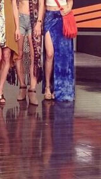 skirt tie dye long skirt slit