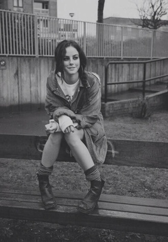 jacket coat skins grunge boots indie effy stonem ankle boots denim denim jacket hipster shoes black boots oversized jean jacket jean jackets underwear socks