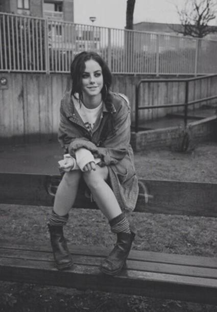 jacket coat skins grunge boots indie effy stonem ankle boots denim denim jacket hipster shoes black boots oversized jean jacket jean jackets underwear socks