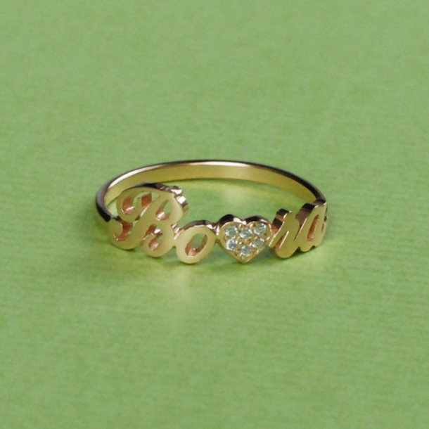Jewels: Diamond Name Ring, Diamond Ring, Name Ring, Letter Ring, Letters, Personalized Ring