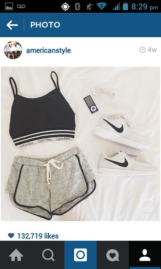 tank top top shorts shirt comfortable style tumblr tumblr outfit nike sneakers athletic sportswear sporty athleticwear black gray white nike free run fashion casual summer spring cute hot pretty