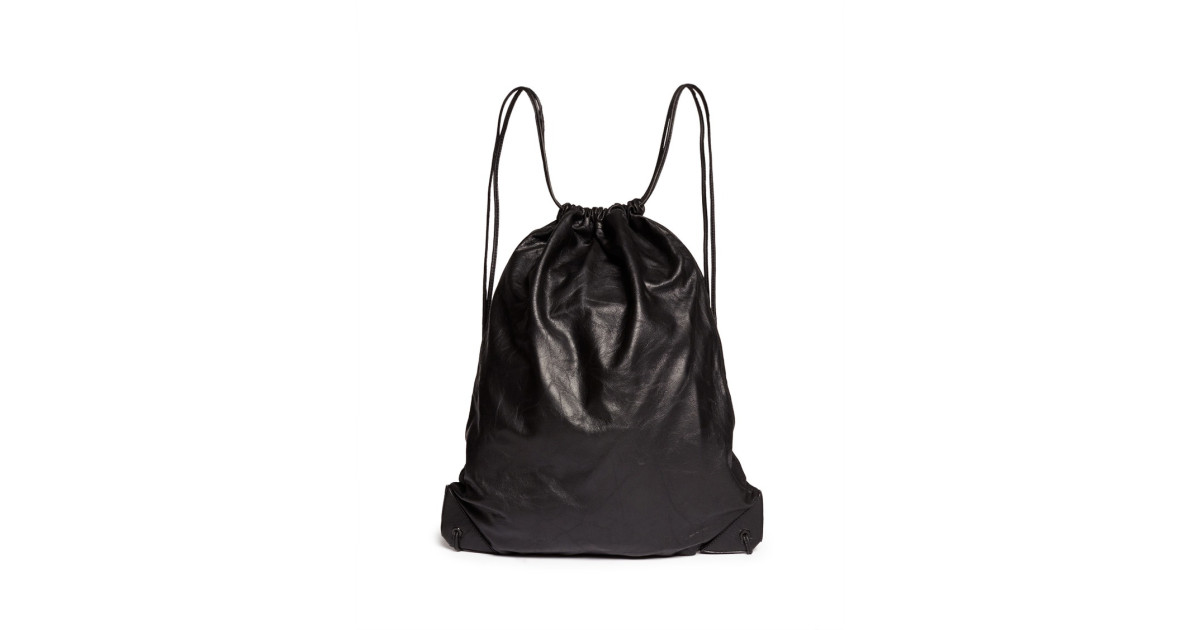 fa5e7e3c9070 Alexander Wang | Black 'wallie' Lamb Leather Gym Sack Backpack for Men |  Lyst