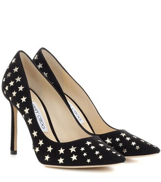 metallic 100 pumps leather suede black shoes