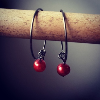 jewels red jewels red jewelry earing earings perle perles danish scandinavia new trendy fashion