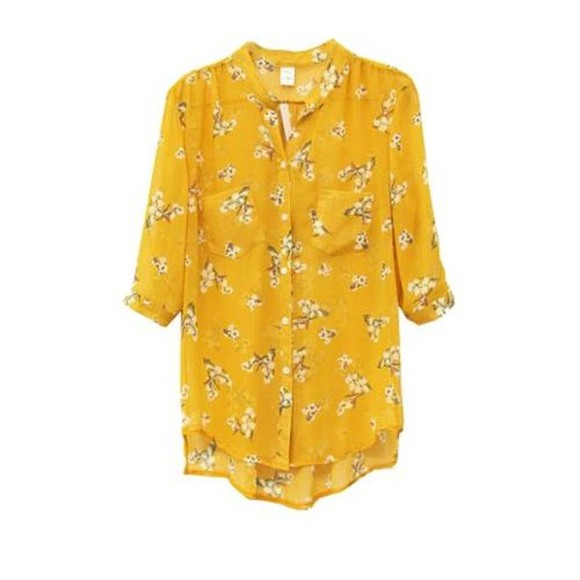 yellow shirt blouse flower print