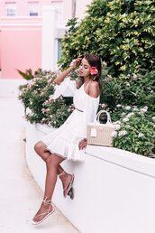 dress,tumblr,mini dress,white dress,halter neck,halter dress,sandals,flat sandals,bag,basket bag