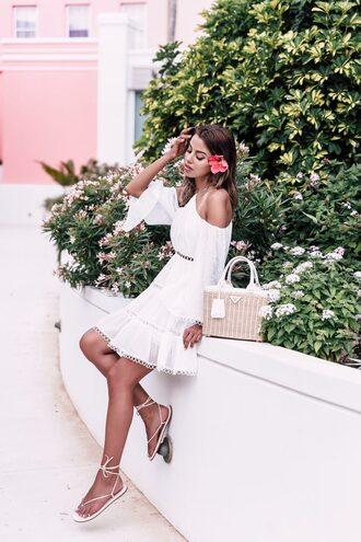 dress tumblr mini dress white dress halter neck halter dress sandals flat sandals bag basket bag