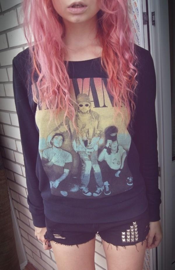 t-shirt nirvana rock band clothes rock sweater jumper band grunge style shirt alternative weed rainbow sitting