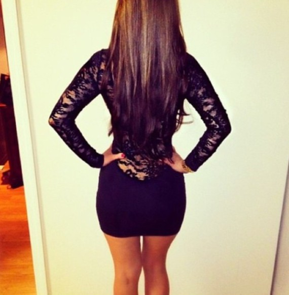 dress black mini dress open back open back dresses little black dress black, skin tight dress, tumblr, cute, want, need, help, long sleeve lace dress fashion addict