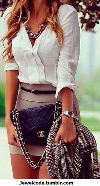 skirt blouse jewels dress tan white fashion date outfit pretty classy nude watch necklace cardigan chanel white blouse tan skirt tight skirt belt purse wishies^^i luv this skiirt smart shirt office outfits jacket top handbag white top white long sleeve blouse black gold