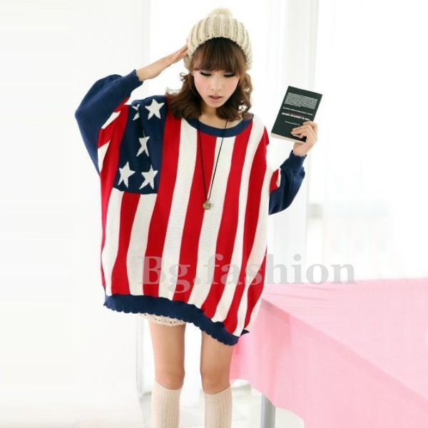 Drapeau américain sweater tricote pull chauve