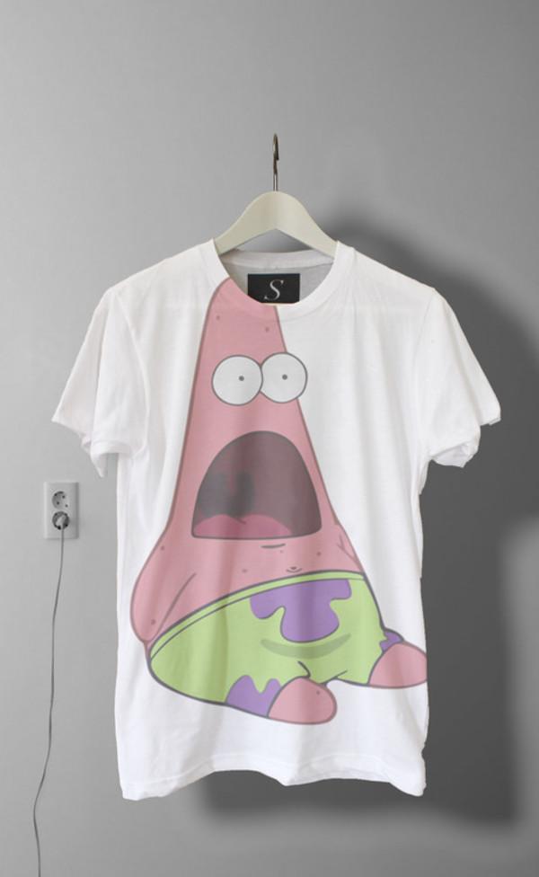 shirt white t-shirt patrick star spongebob hipster funny shirt cool shirts cartoon oversized t-shirt blouse