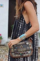 bag,antique bag,vintage bag,oriental bag,boho bag,tibetan,nepale,nepalese,morrocan bag,leather embellished bag,brown bag,leather,leather bag,morroco,morrocan style,turquoise jewelry,turquoise,loose dress,loose,black bag