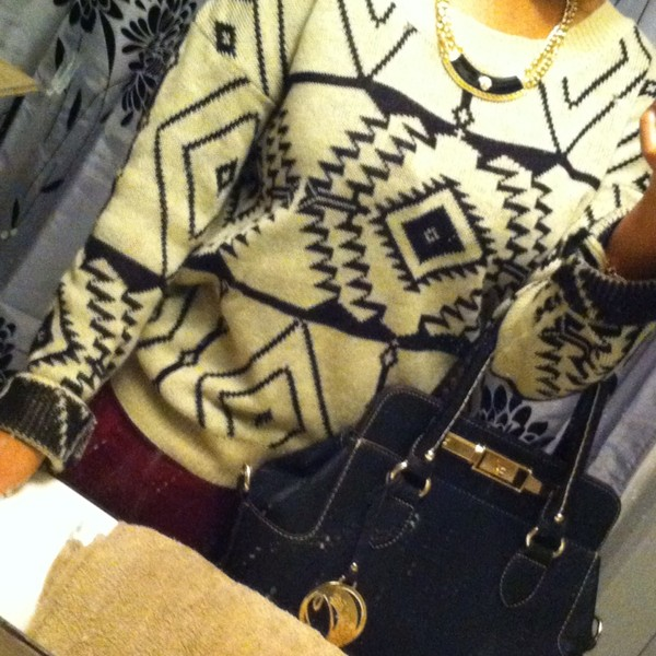 sweater tribal sweater tribal pattern black burgundy jewelry versace michael kors shoes forever 21 wet seal gold sexy sexy sweater fall 2013 winter sweater comfy winter outfits cute outfits michael kors michael kors