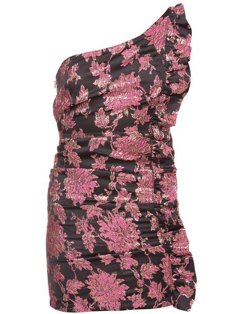 For Love and Lemons dress one shoulder dress women spandex jacquard floral purple pink