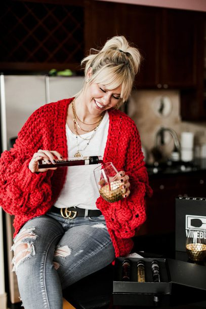 the courtney kerr blogger cardigan tank top belt jeans jewels red cardigan gucci belt winter outfits