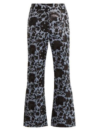 jacquard floral blue black pants