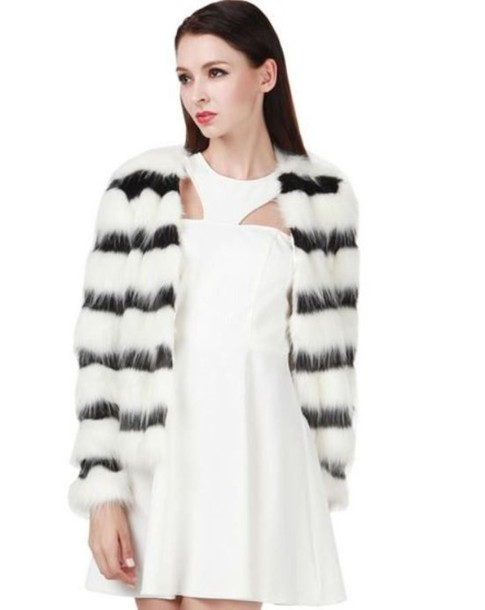 22df959098 black and white coat black and white stripes striped coat faux fur coat  striped faux fur