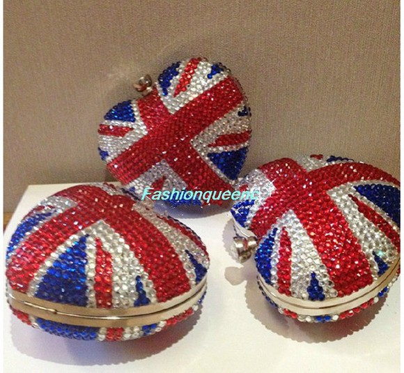 union flag union jack bag crystal jewels embellished clucth,key holder,shinny bag, purse.