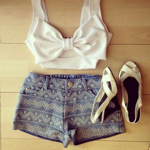 bow denim shorts crop tops aztec white sandals