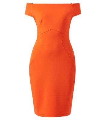 Orange Scuba Bardot Neck Bodycon Dress