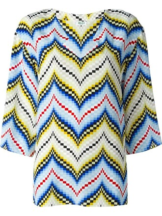 top women blue silk chevron