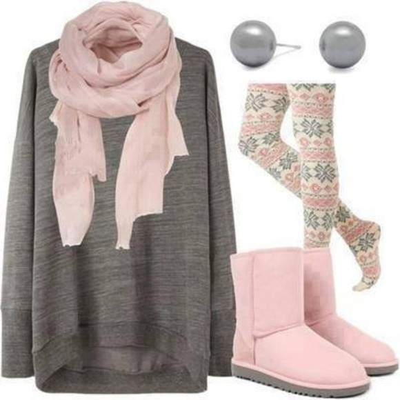 boots leggings oversized sweater scarf pink