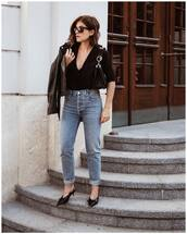 shoes,slingbacks,mid heel pumps,jeans,high waisted jeans,black blouse,biker jacket,leather jacket,sunglasses,shoulder bag