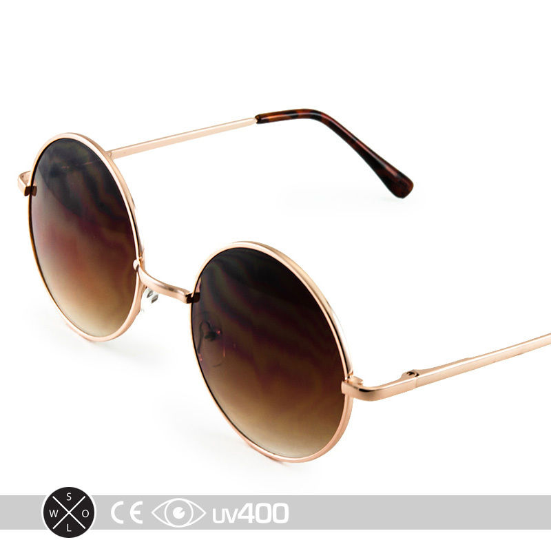 Gold Frame Round Circle Sunglasses Wire Frame Vintage Free Case S148