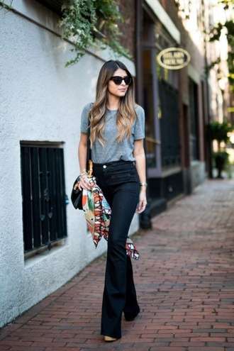 pants grey t-shirt sunglasses black flared pants colorful scarf blogger