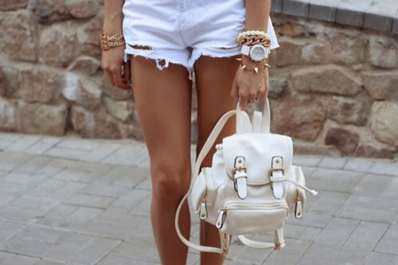 white bag bag distressed white shorts