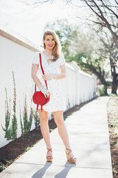 a lonestar state of southern,blogger,dress,shoes,bag,jewels,shoulder bag,white dress,red bag,wrap dress,wedges