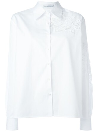 shirt floral shirt embroidered women floral white cotton top