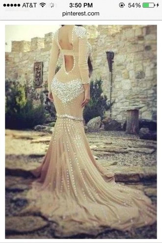 dress prom dress sheer nude bejeweled embellished long open back