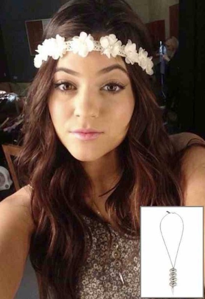 Hat white flowers headband kylie jenner wheretoget mightylinksfo