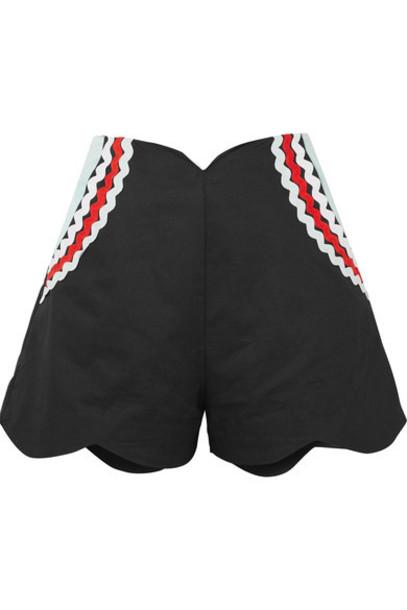 Paper London shorts scalloped cotton black