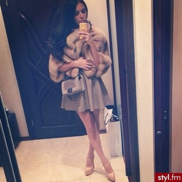 skirt pleated skirt beige skirt fur coat fur jacket jacket