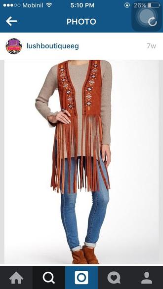 coat vest fringes tassel camel tan trendy suede