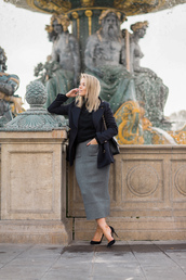 skirt,tumblr,grey skirt,midi knit skirt,midi skirt,pencil skirt,sweater,black sweater,jacket,black jacket,pumps,pointed toe pumps,high heel pumps,black heels,high heels,heels,bag,winter work outfit,work outfits