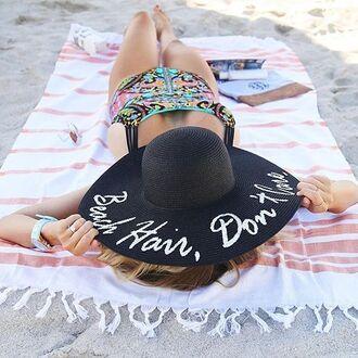 hat customized beach hat black hat sun hat beach swimwear one piece swimsuit printed swimsuit big hat