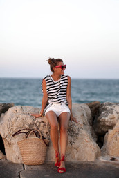 b a r t a b a c,blogger,top,shorts,shoes,bag,sunglasses,red sunglasses,white shorts,striped top,basket bag,straw bag,beach bag,sandals,Aquazzura sandals,summer outfits
