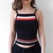 Colour block ribbed crop top