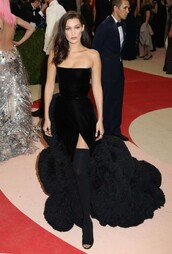dress,gown,bella hadid,strapless,bustier,bustier dress,booties,met gala,metgala2016,slit dress,fur