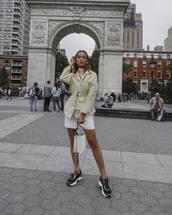 bag,white bag,handbag,sneakers,white shorts,jacket,turtleneck